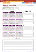 연간자동달력(Plan Notes포함) - Yearly Calendar with Notes